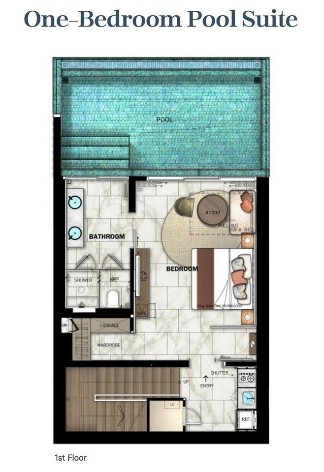 One bedroom pool suite